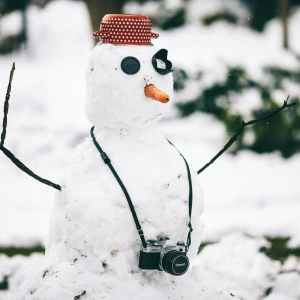 snowman with camera