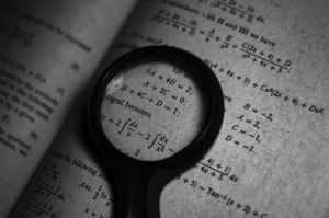monochrome photo of math formulas